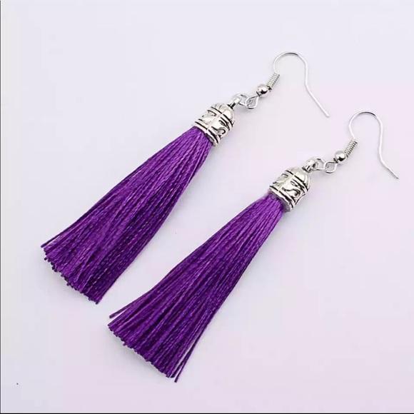 Jewelry - Bohemian silver top tassel drop earrings in purple